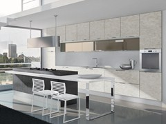 Fitted kitchen with handles NILDE GRÈS | Fitted kitchen - Cucine Lube