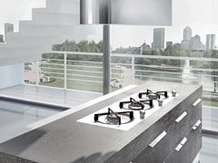 Fitted kitchen with handles NILDE GRÈS | Porcelain stoneware kitchen - Cucine Lube
