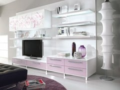 - Mueble modular de pared composable lacado con soporte para tv NILDE | Mueble modular de pared composable - Cucine Lube