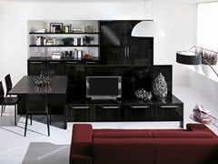 - Mueble modular de pared composable lacado con soporte para tv NILDE | Mueble modular de pared lacado - Cucine Lube