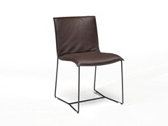 - Sled base leather chair with removable cover PIURO | Chair - Jori