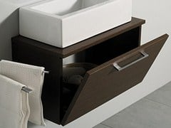 - Wall-mounted wooden vanity unit with doors MINI ZEN - LA BOTTEGA DI MASTRO FIORE