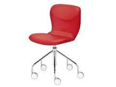 - Upholstered trestle-based chair with casters ITALIA | Chair with casters - Midj