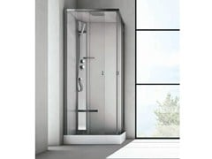 - Corner multifunction crystal and stainless steel shower cabin SOUND - HAFRO