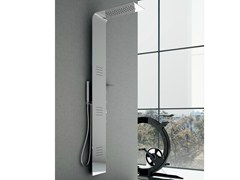 - Wall-mounted thermostatic steel shower panel with overhead shower Steel LAMA - GRUPPO GEROMIN