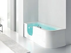 - Corner whirlpool bathtub with shower FOR ALL - HAFRO