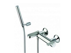 - Wall-mounted bathtub mixer with hand shower ROUND | Bathtub mixer with hand shower - CRISTINA Rubinetterie