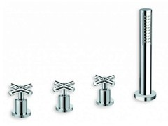 - 4 hole bathtub tap with diverter with hand shower EXCLUSIVE | 4 hole bathtub tap - CRISTINA Rubinetterie