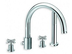 - 4 hole chrome-plated bathtub tap with hand shower EXCLUSIVE | Bathtub tap with hand shower - CRISTINA Rubinetterie