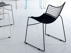 - Sled base stackable steel chair STITCH | Chair - Esedra by Prospettive