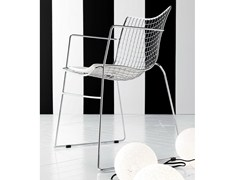 - Sled base steel chair with armrests STITCH | Chair with armrests - Esedra by Prospettive