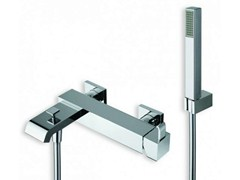 - Wall-mounted bathtub mixer with hand shower QUADRI | Bathtub mixer with hand shower - CRISTINA Rubinetterie