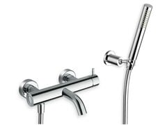 - 3 hole wall-mounted bathtub mixer with hand shower TRICOLORE VERDE | Bathtub mixer with hand shower - CRISTINA Rubinetterie