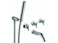 - 5 hole wall-mounted bathtub tap with hand shower SELTZ | 5 hole bathtub tap - CRISTINA Rubinetterie