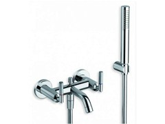 - 3 hole wall-mounted bathtub tap with hand shower PICCHE ELITE | Bathtub tap with hand shower - CRISTINA Rubinetterie