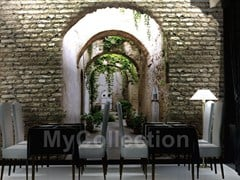 Brick-effect panoramic wallpaper GARDEN DOOR - MyCollection.it