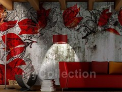 Wall-effect wallpaper with floral pattern FLO - MyCollection.it