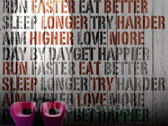 Wood effect writing wallpaper GET HAPPIER - MyCollection.it