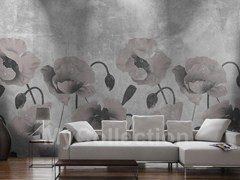 Wall-effect wallpaper with floral pattern PAPAVERI - MyCollection.it