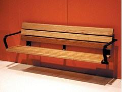 - Wall-Mounted wooden Bench with armrests KALMARSUND | Wall-Mounted Bench - Nola Industrier