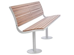 - Steel and wood Bench with back PARCO | Steel and wood Bench - Nola Industrier