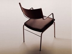 - Tanned leather chair with armrests CHAZUKA | Chair with armrests - F.lli Orsenigo