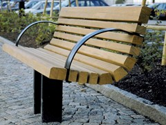 - Steel and wood Bench with back SAKURA | Bench - Nola Industrier