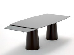 - Extending crystal and stainless steel table TOTEM EXTENSIBLE - SOVET ITALIA