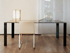 - Rectangular glass and steel table JEAN RECTANGULAR - SOVET ITALIA