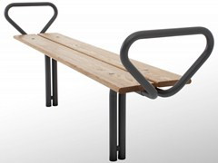 - Backless steel and wood Bench BUDGET | Backless Bench - Nola Industrier