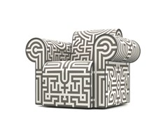 - Upholstered Dacron® armchair with armrests LABYRINTH CHAIR GREY - Moooi©