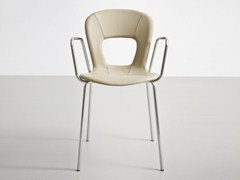 - Stackable leather chair with armrests BLOG TB - GABER