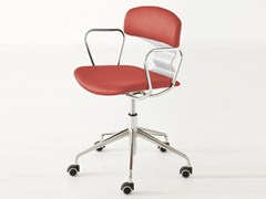 - Chair with 5-spoke base with armrests with casters TOLO 5RB | Upholstered chair - GABER