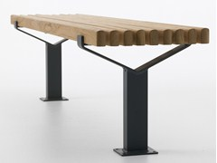 - Backless steel and wood bench seating LUMA | Backless Bench - Nola Industrier