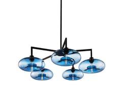 - Lampadario a luce diretta in vetro soffiato QUILL 5 - Niche Modern