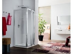 - Corner glass shower cabin with hinged door RAPID - 4 - INDA®