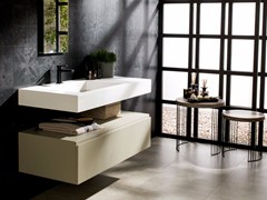 - Rectangular Krion® washbasin with integrated countertop RAS | Washbasin with integrated countertop - Systempool