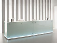 - Modular glass Reception desk with Built-In Lights FURONTO | Reception desk - BALMA