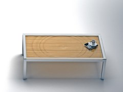 - Low rectangular steel and wood coffee table AQUA | Rectangular coffee table - Altinox Minimal Design