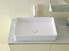 - Countertop rectangular Ceramilux® washbasin GLAZE | Rectangular washbasin - INBANI