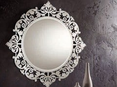- Wall-mounted framed mirror ROMANTICO | Round mirror - RIFLESSI