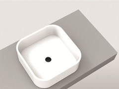 - Square washbasin with integrated countertop SAND | Square washbasin - AMA Design