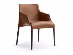 - Tanned leather chair with armrests SEATTLE | Chair with armrests - Poliform