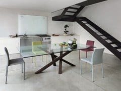 - Tavolo da pranzo rettangolare in legno e vetro SHANGAI   Tavolo in legno e vetro - RIFLESSI