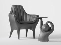 - Upholstered leather armchair SHOWTIME | Armchair - BD Barcelona Design