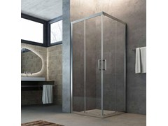 - Corner crystal shower cabin with sliding door SLINTA SX - Glass 1989