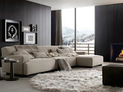 - Sectional fabric sofa with removable cover with chaise longue SOHO | Sofa with chaise longue - Poliform