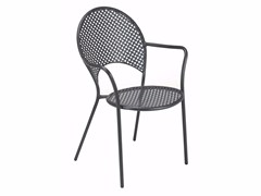 - Stackable steel garden chair with armrests SOLE - EMU Group
