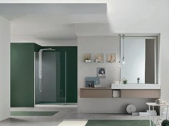 - Single oak vanity unit with mirror SOUL - COMPOSITION 04 - Arcom