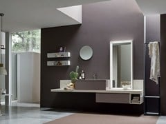 - Single oak vanity unit with mirror SOUL - COMPOSITION 08 - Arcom